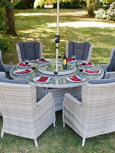 Manhattan 170cm Round Dining Set with Wingback Chairs