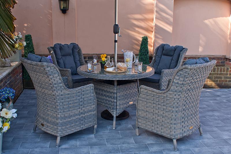 Corfu Woodash 110cm Round Dining Set 3