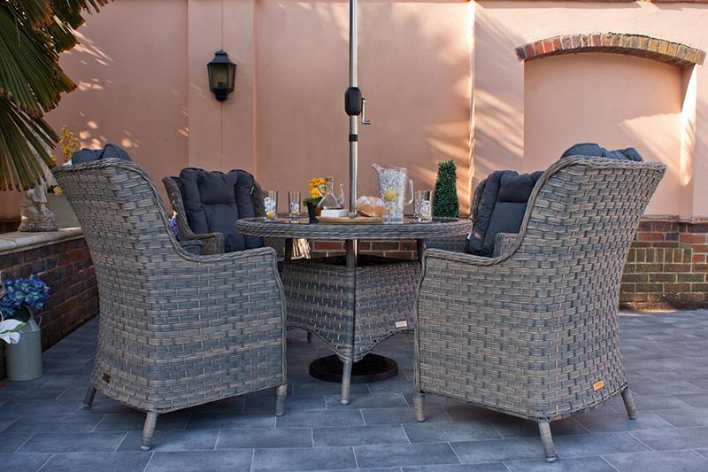 Corfu Woodash 110cm Round Dining Set 5