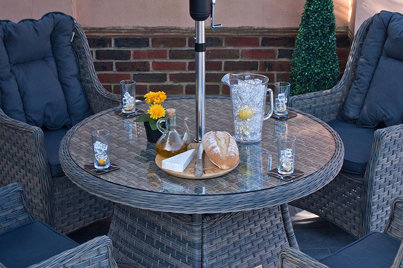 Corfu Woodash 110cm Round Dining Set 6