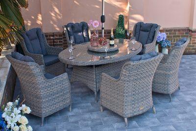 Corfu Woodash 180cm Elliptical Dining Set 1