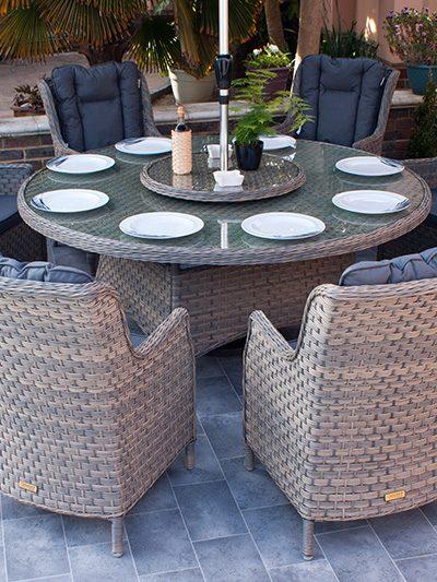 Corfu Woodash 180cm Round Dining Set 1