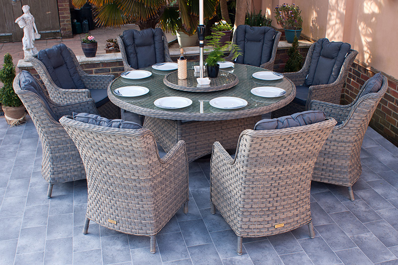 Corfu Woodash 180cm Round Dining Set 1