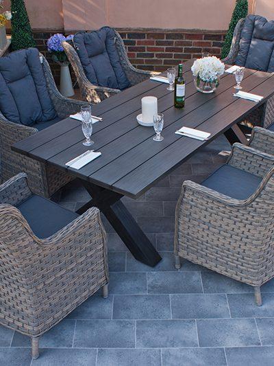 Corfu Woodash Aluminium Dining Set 1