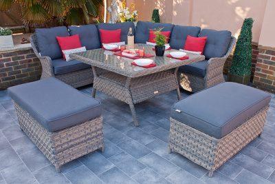 Corfu Woodash Corner Dining Set with Benches 1