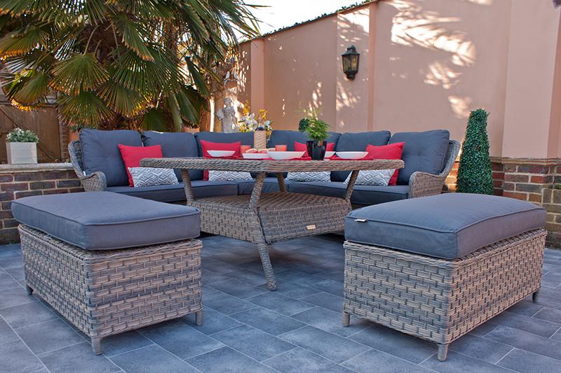 Corfu Woodash Corner Dining Set with Benches 2