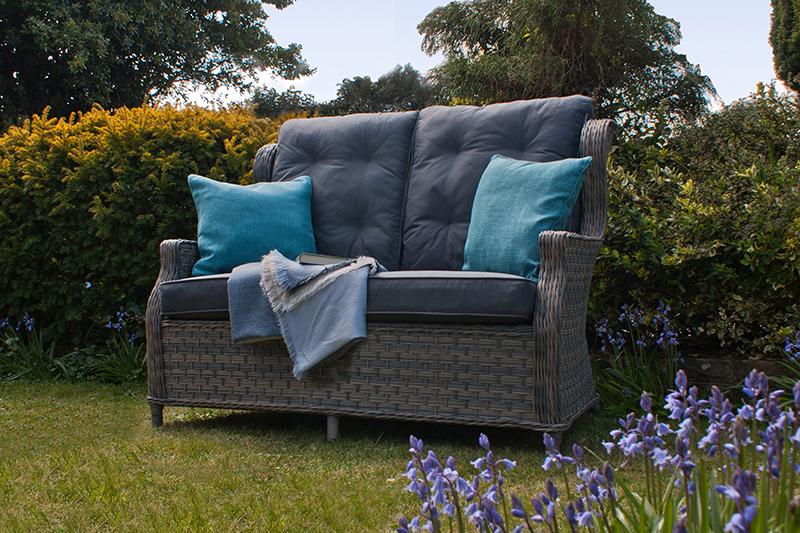 Corfu Woodash High Back Reclining 2 Seater Sofa 1