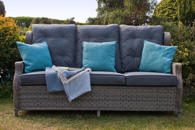 Corfu Woodash High Back Reclining 3 Seater Sofa 3