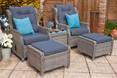 Corfu Woodash High Back Reclining Armchair Set 01