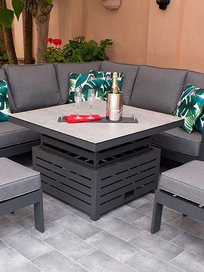St Lucia Grey Corner Dining Set 1